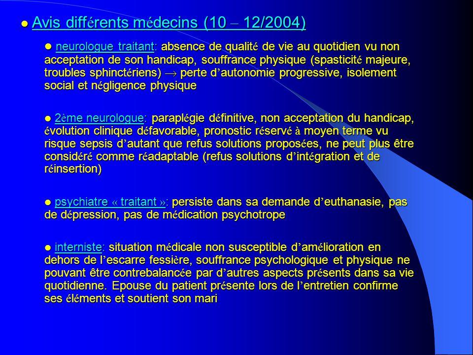 Avis diff é rents m é decins (10 – 12/2004) Avis diff é rents m é decins (10 – 12/2004) neurologue traitant: absence de qualit é de vie au quotidien v