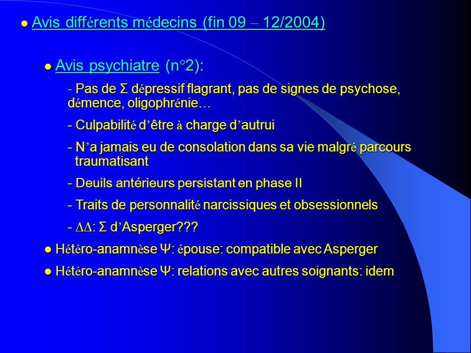 Avis diff é rents m é decins (fin 09 – 12/2004) Avis diff é rents m é decins (fin 09 – 12/2004) Avis psychiatre (n°2): Avis psychiatre (n°2): - Pas de Σ d é pressif flagrant, pas de signes de psychose, d é mence, oligophr é nie … - Culpabilit é d être à charge d autrui - N a jamais eu de consolation dans sa vie malgr é parcours traumatisant - Deuils antérieurs persistant en phase II - Traits de personnalit é narcissiques et obsessionnels - : Σ d Asperger??.