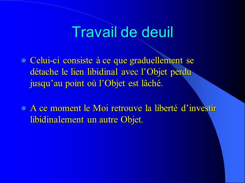 Travail de deuil Celui-ci consiste à ce que graduellement se détache le lien libidinal avec lObjet perdu jusquau point où lObjet est lâché.
