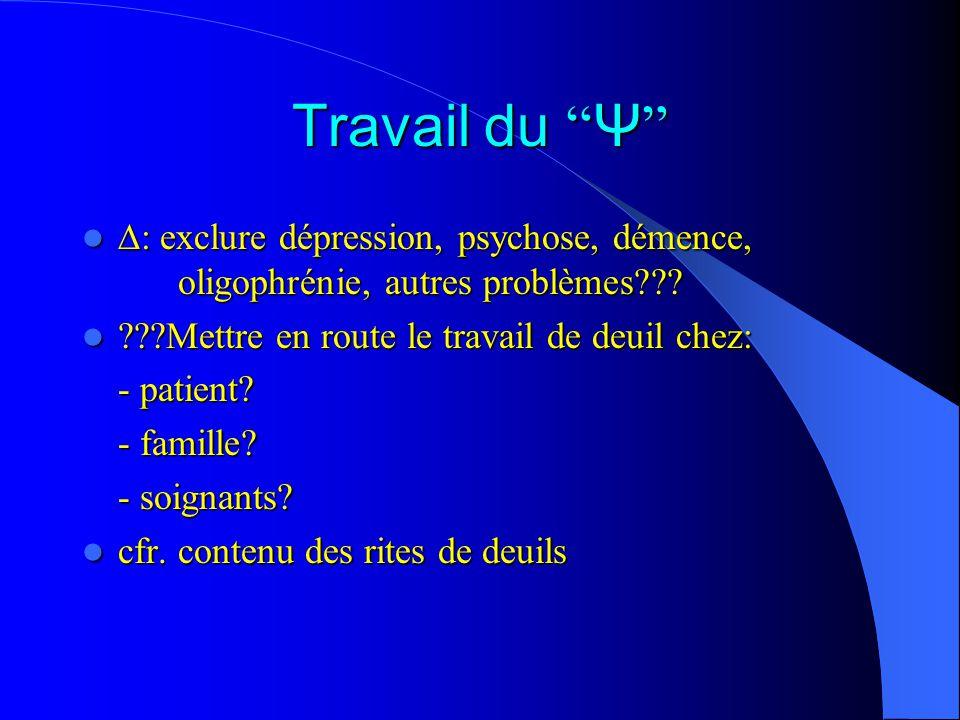 Travail du Ψ Travail du Ψ : exclure dépression, psychose, démence, oligophrénie, autres problèmes??.