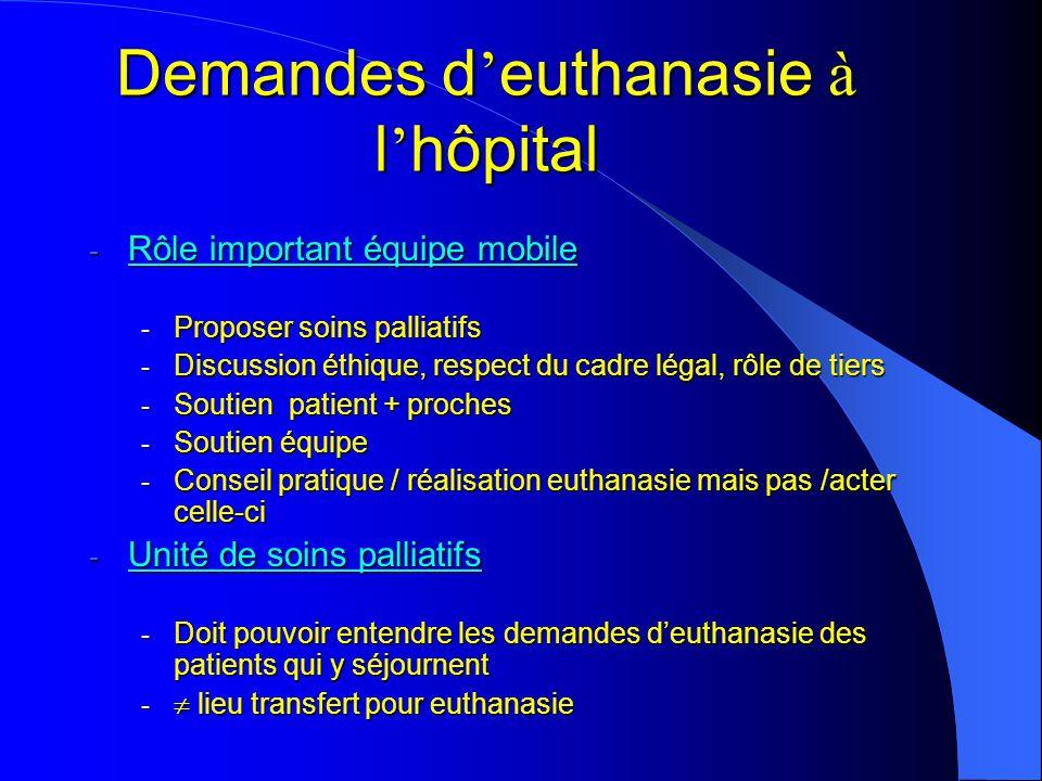 - Rôle important équipe mobile - Proposer soins palliatifs - Discussion éthique, respect du cadre légal, rôle de tiers - Soutien patient + proches - S
