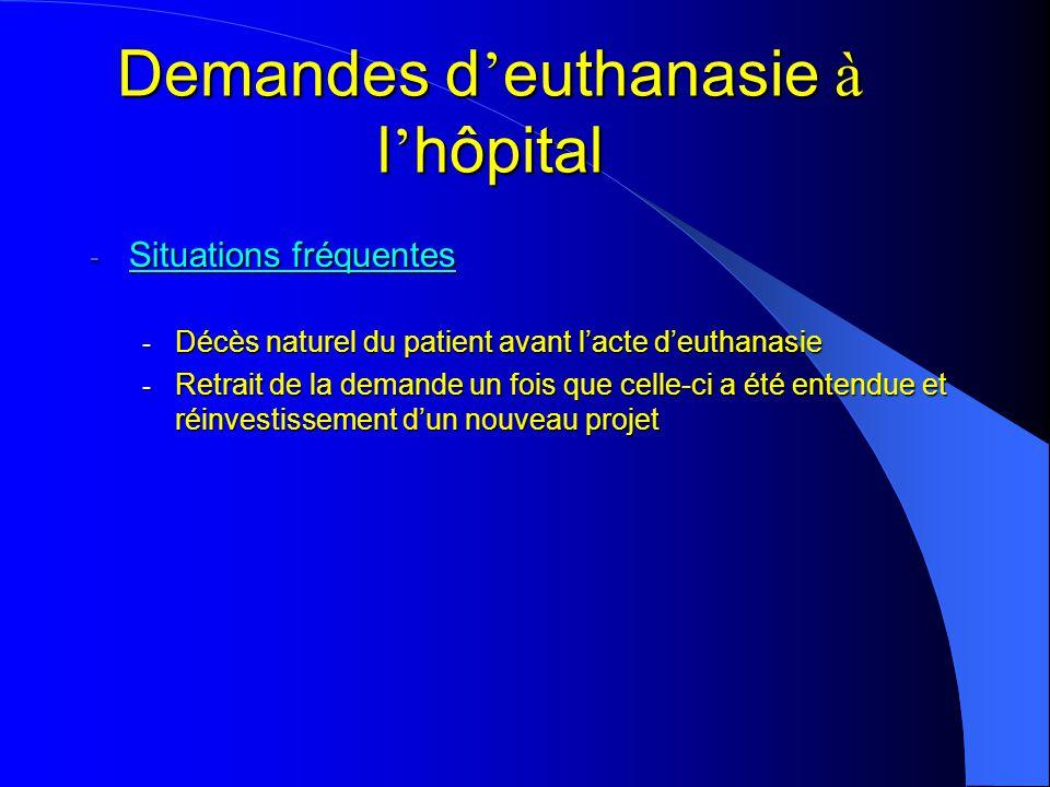 - Situations fréquentes - Décès naturel du patient avant lacte deuthanasie - Retrait de la demande un fois que celle-ci a été entendue et réinvestissement dun nouveau projet Demandes d euthanasie à l hôpital