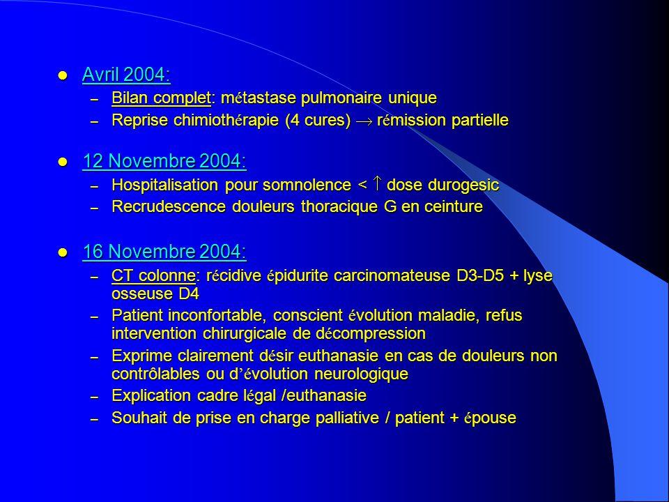 Avril 2004: Avril 2004: – Bilan complet: m é tastase pulmonaire unique – Reprise chimioth é rapie (4 cures) r é mission partielle 12 Novembre 2004: 12 Novembre 2004: – Hospitalisation pour somnolence < dose durogesic – Recrudescence douleurs thoracique G en ceinture 16 Novembre 2004: 16 Novembre 2004: – CT colonne: r é cidive é pidurite carcinomateuse D3-D5 + lyse osseuse D4 – Patient inconfortable, conscient é volution maladie, refus intervention chirurgicale de d é compression – Exprime clairement d é sir euthanasie en cas de douleurs non contrôlables ou d é volution neurologique – Explication cadre l é gal /euthanasie – Souhait de prise en charge palliative / patient + é pouse Traitement : Traitement : – chimiotherapie pr é op é ratoire – pneumectomie gauche (30/6/2003): pT2N1M0 – Pas de traitement compl é mentaire palliative (8 cG), biphosphonates IV 1 x / mois palliative (8 cG), biphosphonates IV 1 x / mois