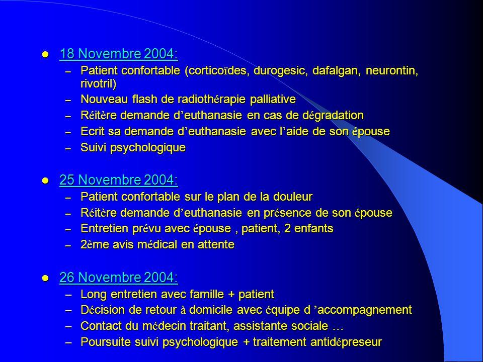 18 Novembre 2004: 18 Novembre 2004: – Patient confortable (cortico ï des, durogesic, dafalgan, neurontin, rivotril) – Nouveau flash de radioth é rapie