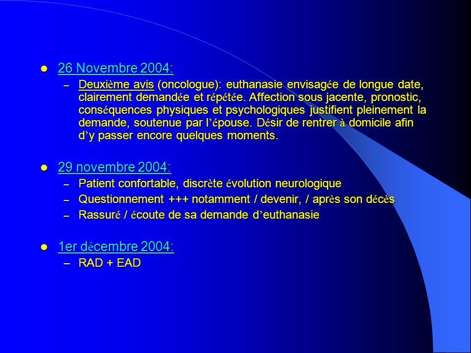 26 Novembre 2004: 26 Novembre 2004: – Deuxi è me avis (oncologue): euthanasie envisag é e de longue date, clairement demand é e et r é p é t é e.