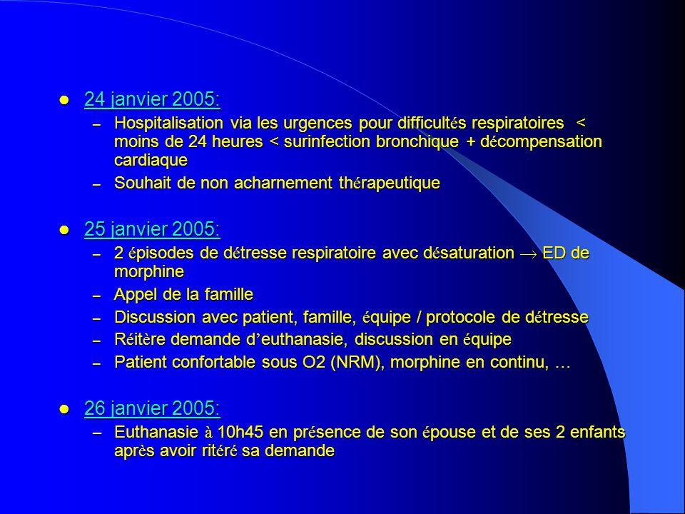 24 janvier 2005: 24 janvier 2005: – Hospitalisation via les urgences pour difficult é s respiratoires < moins de 24 heures < surinfection bronchique +