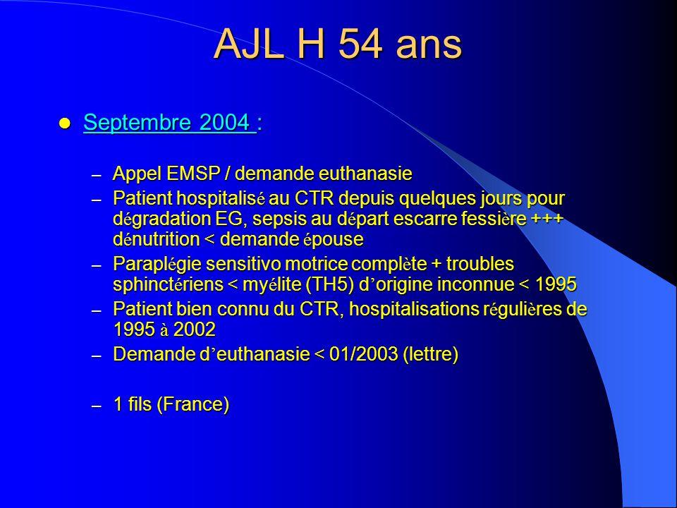 AJL H 54 ans Septembre 2004 : Septembre 2004 : – Appel EMSP / demande euthanasie – Patient hospitalis é au CTR depuis quelques jours pour d é gradatio