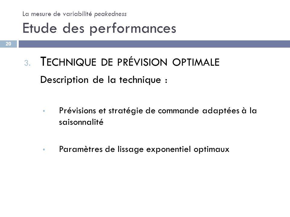 La mesure de variabilité peakedness Etude des performances 3. T ECHNIQUE DE PRÉVISION OPTIMALE Description de la technique : Prévisions et stratégie d