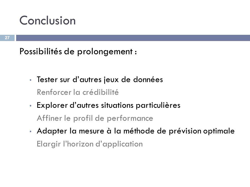 Conclusion Possibilités de prolongement : Tester sur dautres jeux de données Renforcer la crédibilité Explorer dautres situations particulières Affine