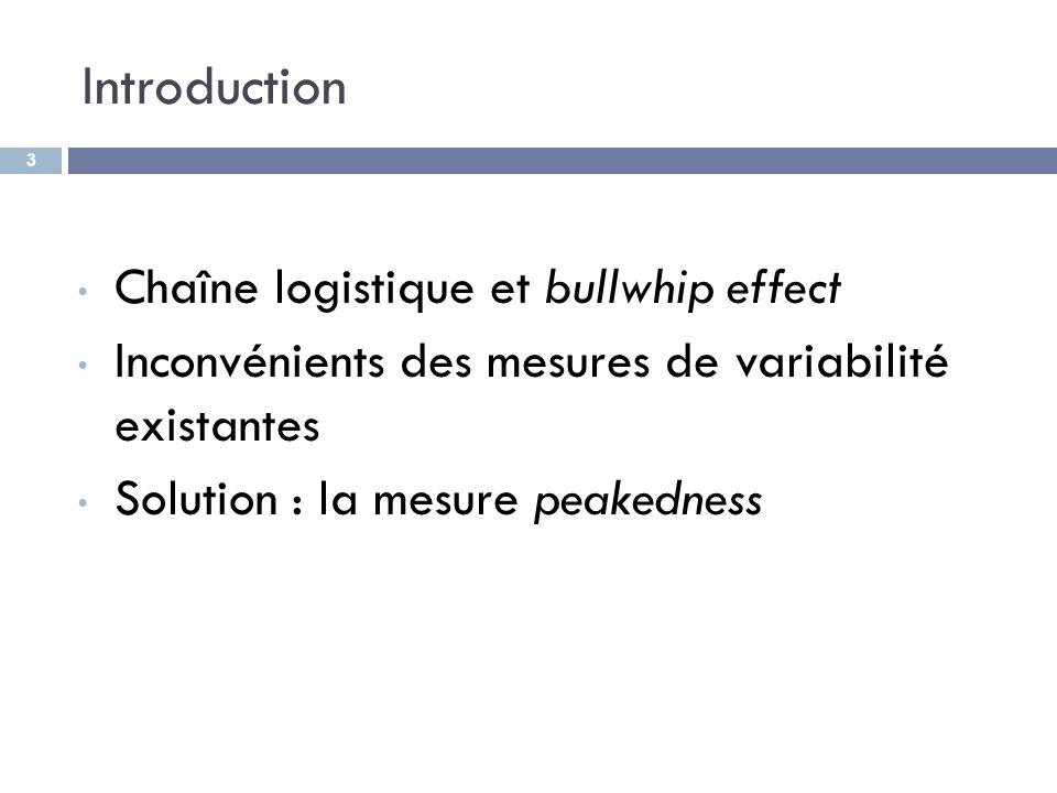 Introduction Chaîne logistique et bullwhip effect Inconvénients des mesures de variabilité existantes Solution : la mesure peakedness 3