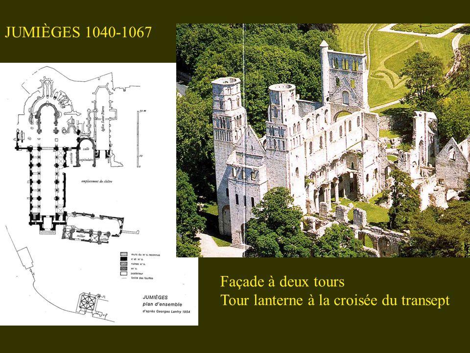JUMIÈGES 1040-1067 Façade à deux tours Tour lanterne à la croisée du transept