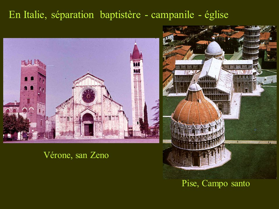 En Italie, séparation baptistère - campanile - église Pise, Campo santo Vérone, san Zeno