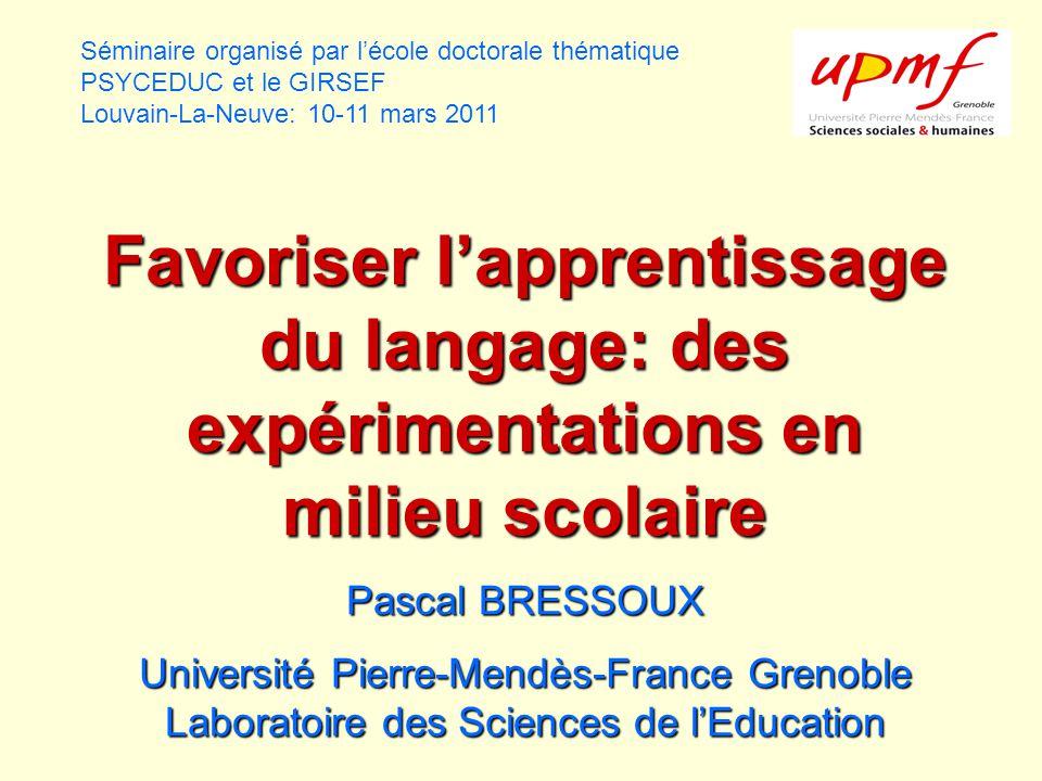 Une expérimentation visant à favoriser les acquisitions langagières dans les zones modestes: le programme PARLER Pascal Bressoux et Michel Zorman