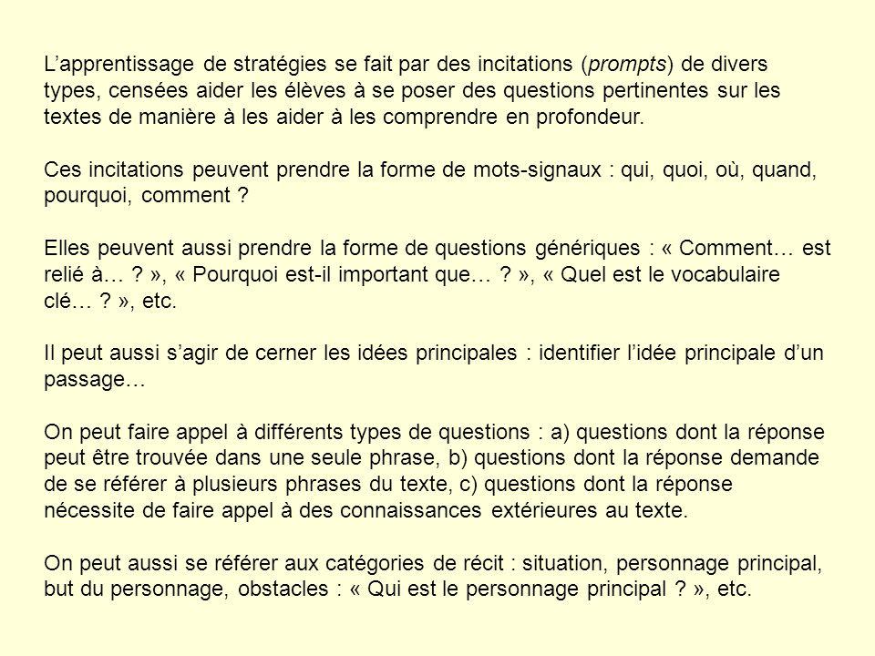 Lapprentissage de stratégies se fait par des incitations (prompts) de divers types, censées aider les élèves à se poser des questions pertinentes sur