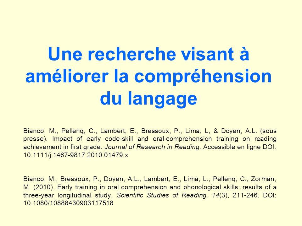 Une recherche visant à améliorer la compréhension du langage Bianco, M., Pellenq, C., Lambert, E., Bressoux, P., Lima, L, & Doyen, A.L. (sous presse).