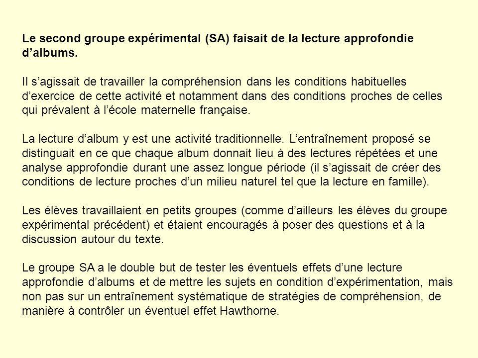 Le second groupe expérimental (SA) faisait de la lecture approfondie dalbums. Il sagissait de travailler la compréhension dans les conditions habituel