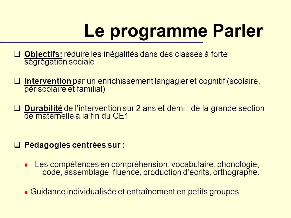 Le programme Parler Objectifs: réduire les inégalités dans des classes à forte ségrégation sociale Intervention par un enrichissement langagier et cog