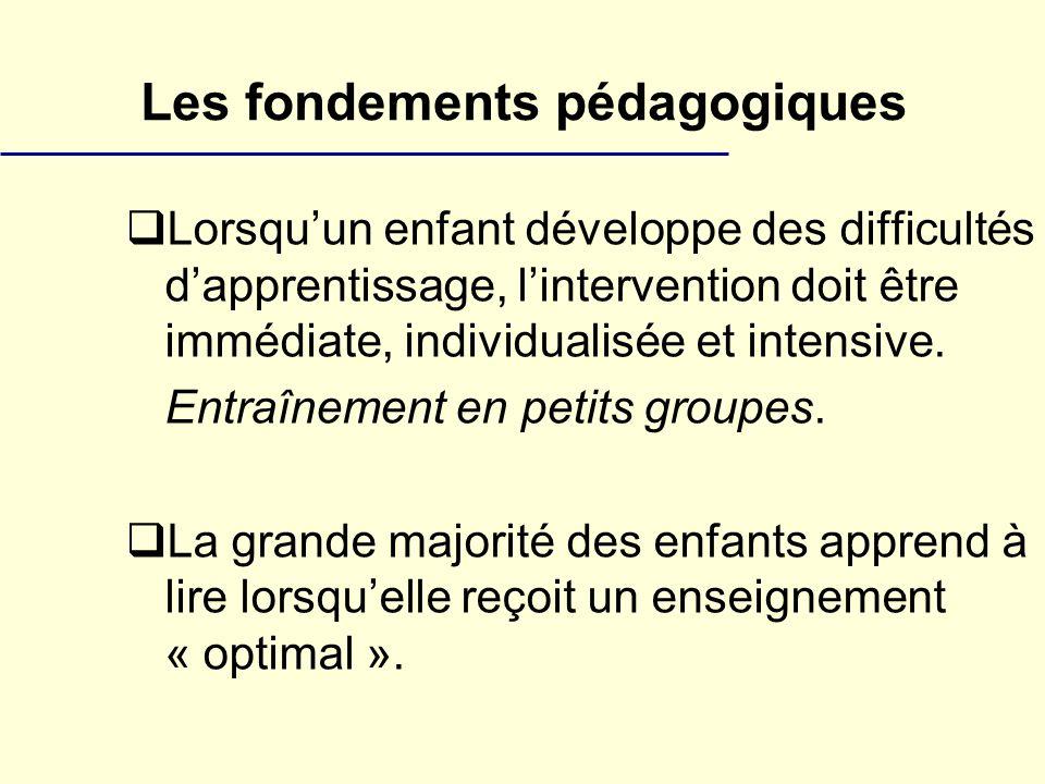 Les fondements pédagogiques Lorsquun enfant développe des difficultés dapprentissage, lintervention doit être immédiate, individualisée et intensive.