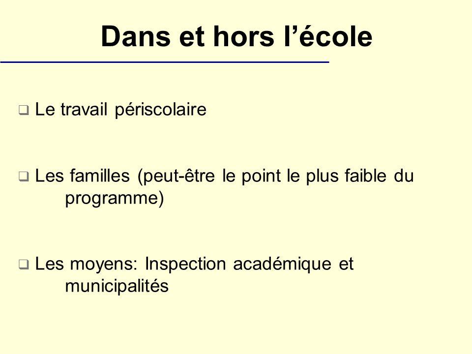 Dans et hors lécole Le travail périscolaire Les familles (peut-être le point le plus faible du programme) Les moyens: Inspection académique et municipalités