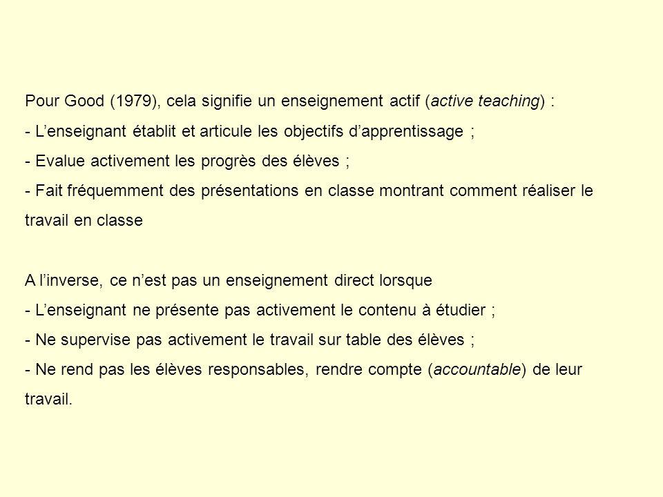 Pour Good (1979), cela signifie un enseignement actif (active teaching) : - Lenseignant établit et articule les objectifs dapprentissage ; - Evalue ac