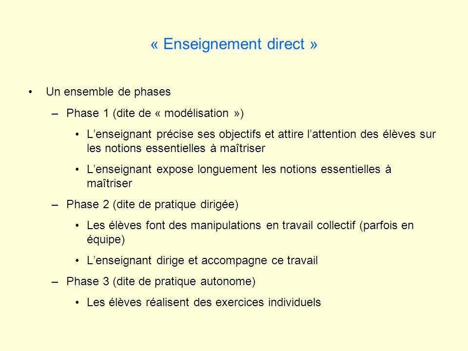 « Enseignement direct » Un ensemble de phases –Phase 1 (dite de « modélisation ») Lenseignant précise ses objectifs et attire lattention des élèves su