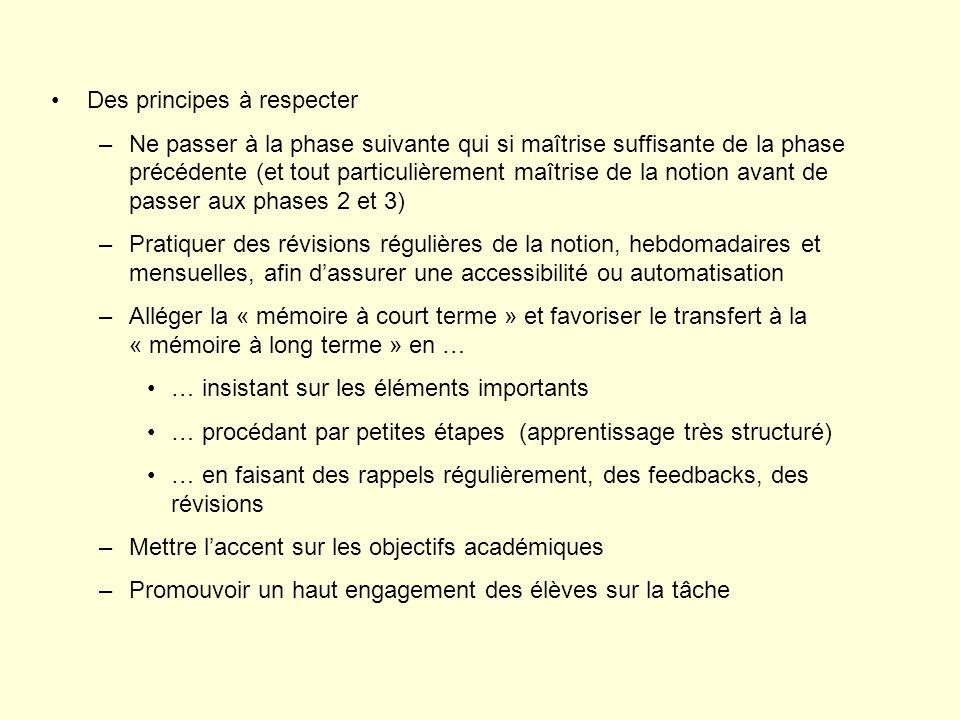 Des principes à respecter –Ne passer à la phase suivante qui si maîtrise suffisante de la phase précédente (et tout particulièrement maîtrise de la no