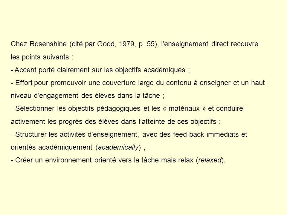 Chez Rosenshine (cité par Good, 1979, p. 55), lenseignement direct recouvre les points suivants : - Accent porté clairement sur les objectifs académiq
