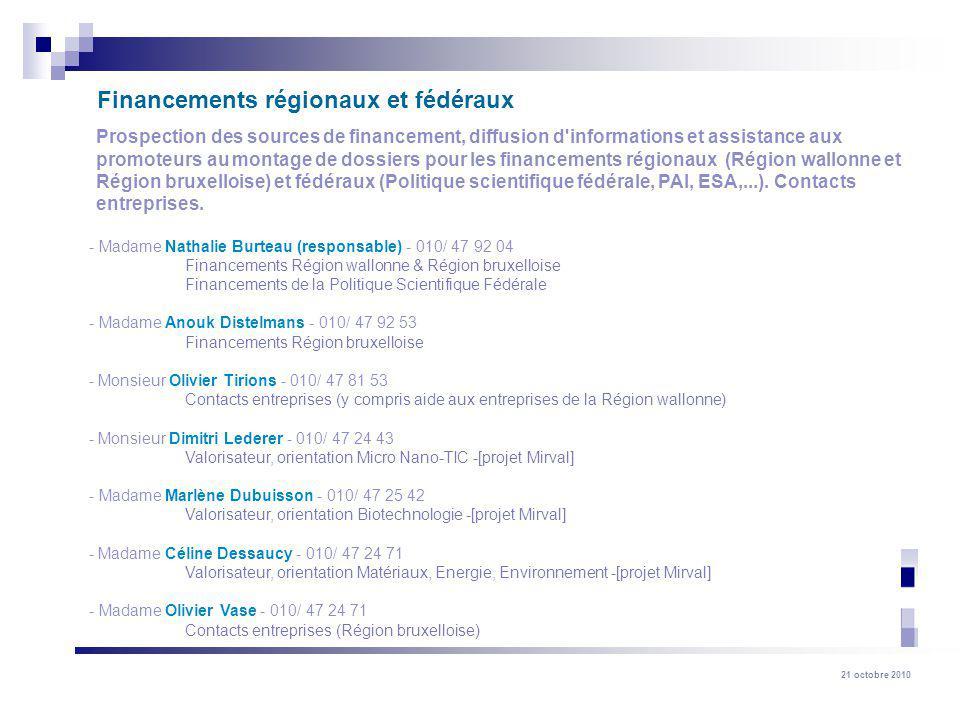21 octobre 2010 Prospection des sources de financement, diffusion d'informations et assistance aux promoteurs au montage de dossiers pour les financem