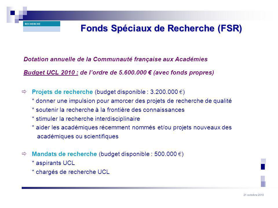 21 octobre 2010 Projets de recherche (budget disponible : 3.200.000 ) * donner une impulsion pour amorcer des projets de recherche de qualité * soutenir la recherche à la frontière des connaissances * stimuler la recherche interdisciplinaire * aider les académiques récemment nommés et/ou projets nouveaux des académiques ou scientifiques Mandats de recherche (budget disponible : 500.000 ) * aspirants UCL * chargés de recherche UCL Dotation annuelle de la Communauté française aux Académies Budget UCL 2010 : de lordre de 5.600.000 (avec fonds propres) Fonds Spéciaux de Recherche (FSR)