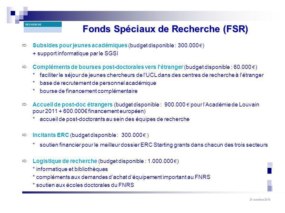 21 octobre 2010 Subsides pour jeunes académiques (budget disponible : 300.000 ) + support informatique par le SGSI Compléments de bourses post-doctora
