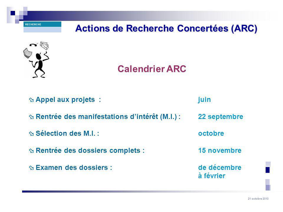 21 octobre 2010 Actions de Recherche Concertées (ARC) Calendrier ARC Appel aux projets : juin Rentrée des manifestations dintérêt (M.I.) : 22 septembre Sélection des M.I.
