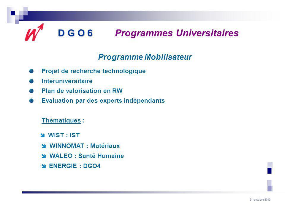 21 octobre 2010 Projet de recherche technologique Interuniversitaire Plan de valorisation en RW Evaluation par des experts indépendants Thématiques :