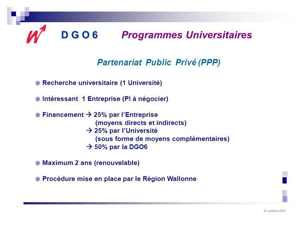 21 octobre 2010 Recherche universitaire (1 Université) Intéressant 1 Entreprise (PI à négocier) Financement 25% par lEntreprise (moyens directs et indirects) 25% par lUniversité (sous forme de moyens complémentaires) 50% par la DGO6 Maximum 2 ans (renouvelable) Procédure mise en place par le Région Wallonne Partenariat Public Privé (PPP) D G O 6 D G O 6Programmes Universitaires