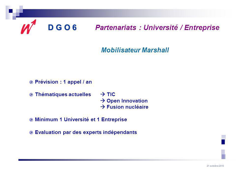 21 octobre 2010 Prévision : 1 appel / an Thématiques actuelles TIC Open Innovation Fusion nucléaire Minimum 1 Université et 1 Entreprise Evaluation pa