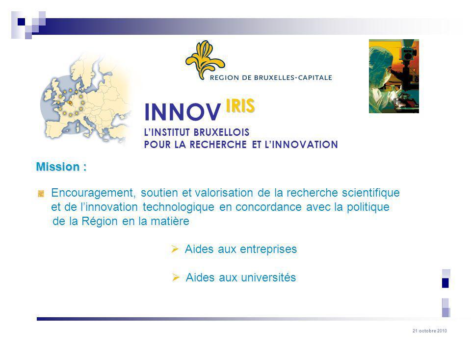 21 octobre 2010 Encouragement, soutien et valorisation de la recherche scientifique et de linnovation technologique en concordance avec la politique d