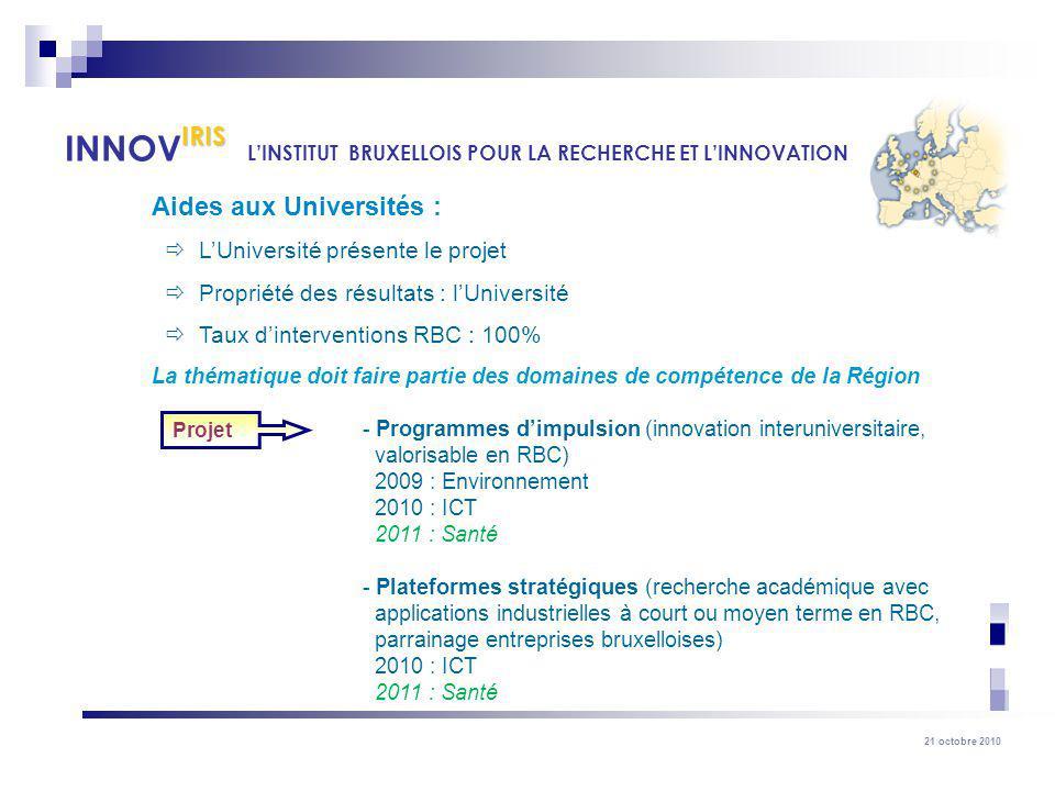 21 octobre 2010 Aides aux Universités : LUniversité présente le projet Propriété des résultats : lUniversité Taux dinterventions RBC : 100% La thémati