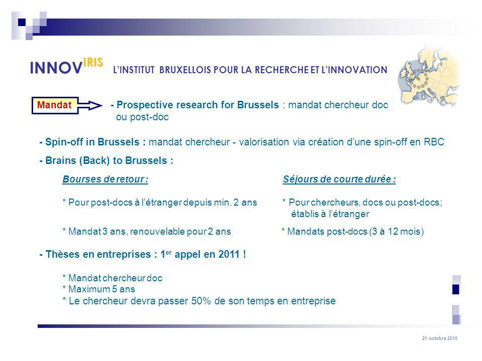 21 octobre 2010 - Prospective research for Brussels : mandat chercheur doc ou post-doc - Spin-off in Brussels : mandat chercheur - valorisation via cr