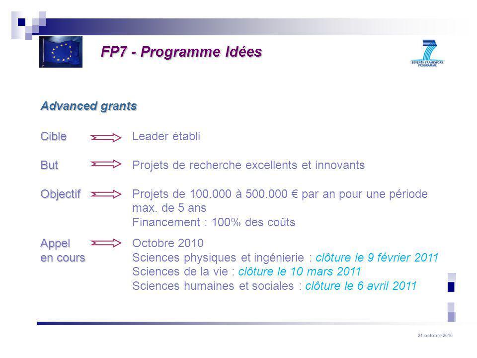 21 octobre 2010 Cible Cible Leader établi But But Projets de recherche excellents et innovants Objectif Objectif Projets de 100.000 à 500.000 par an p