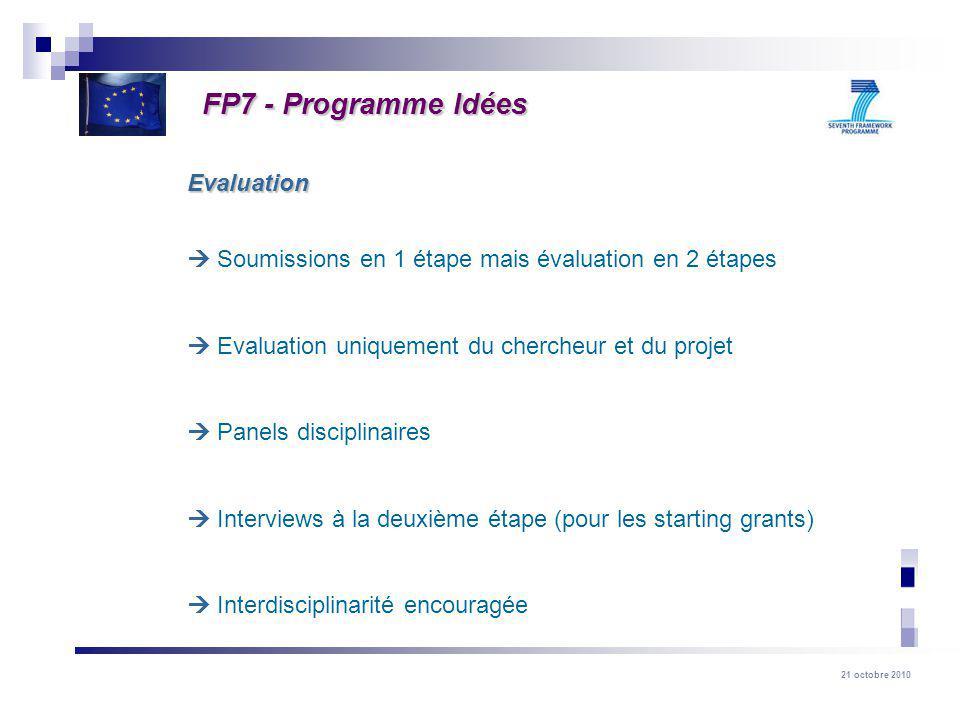 21 octobre 2010 Soumissions en 1 étape mais évaluation en 2 étapes Evaluation uniquement du chercheur et du projet Panels disciplinaires Interviews à la deuxième étape (pour les starting grants) Interdisciplinarité encouragée Evaluation FP7 - Programme Idées