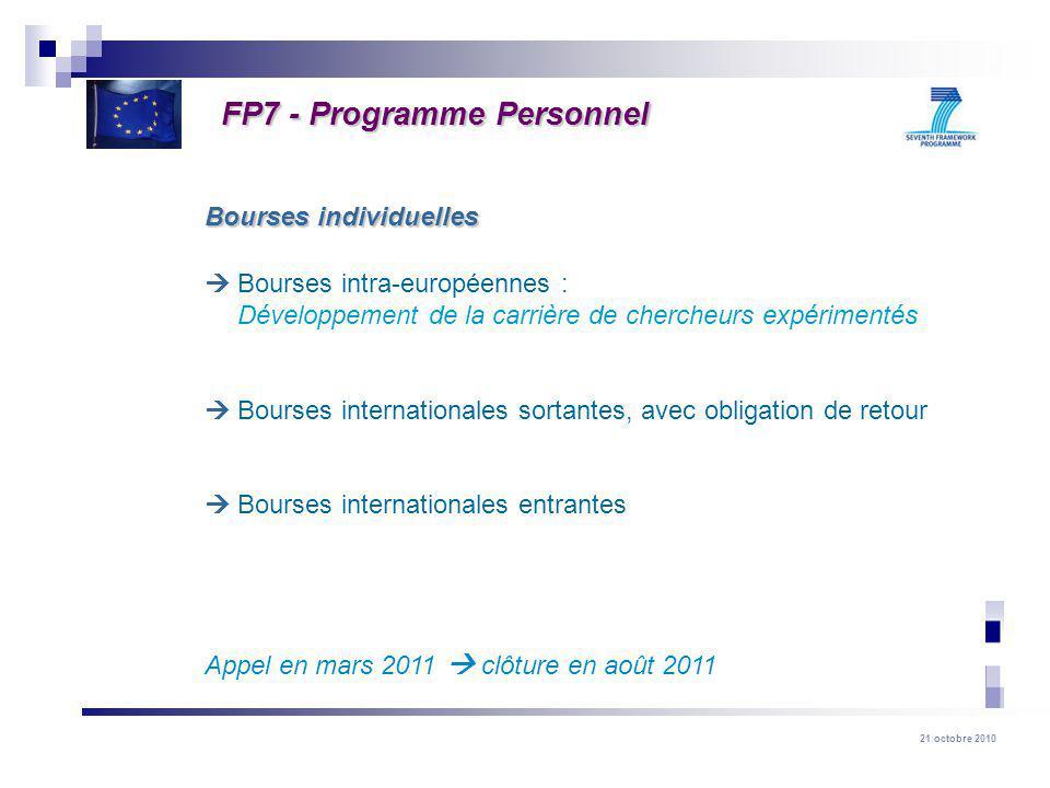 21 octobre 2010 Bourses intra-européennes : Développement de la carrière de chercheurs expérimentés Bourses internationales sortantes, avec obligation de retour Bourses internationales entrantes Appel en mars 2011 clôture en août 2011 Bourses individuelles FP7 - Programme Personnel