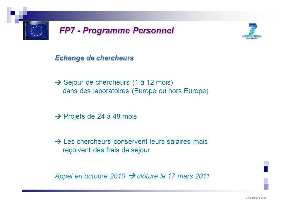 21 octobre 2010 Séjour de chercheurs (1 à 12 mois) dans des laboratoires (Europe ou hors Europe) Projets de 24 à 48 mois Les chercheurs conservent leurs salaires mais reçoivent des frais de séjour Appel en octobre 2010 clôture le 17 mars 2011 Echange de chercheurs FP7 - Programme Personnel