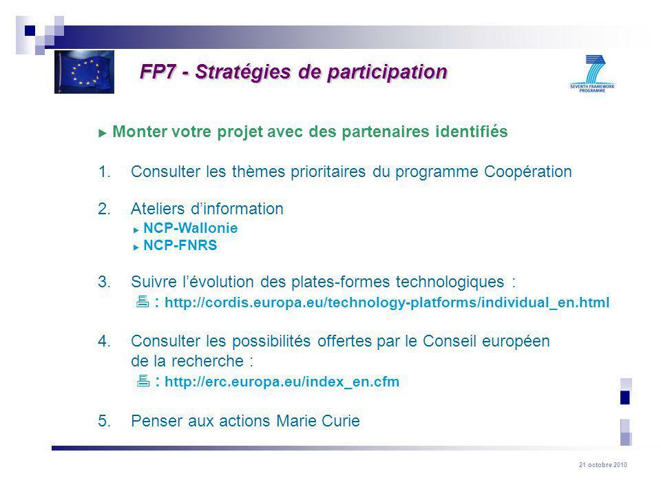 21 octobre 2010 Monter votre projet avec des partenaires identifiés 1. Consulter les thèmes prioritaires du programme Coopération 2. Ateliers dinforma