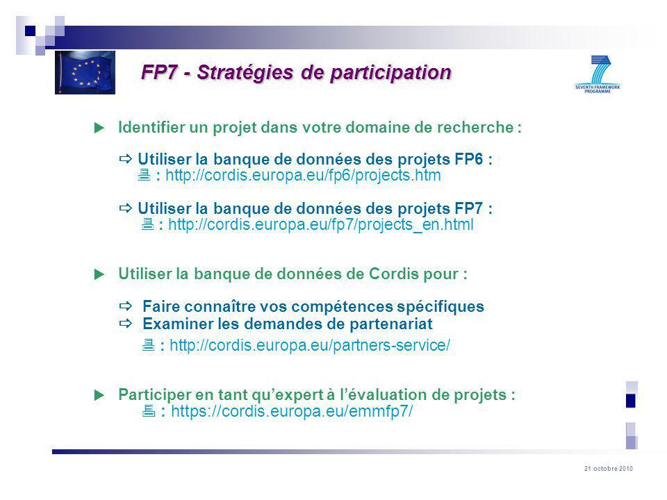 21 octobre 2010 Identifier un projet dans votre domaine de recherche : Utiliser la banque de données des projets FP6 : : http://cordis.europa.eu/fp6/projects.htm Utiliser la banque de données des projets FP7 : : http://cordis.europa.eu/fp7/projects_en.html Utiliser la banque de données de Cordis pour : Faire connaître vos compétences spécifiques Examiner les demandes de partenariat : http://cordis.europa.eu/partners-service/ Participer en tant quexpert à lévaluation de projets : : https://cordis.europa.eu/emmfp7/ FP7 - Stratégies de participation