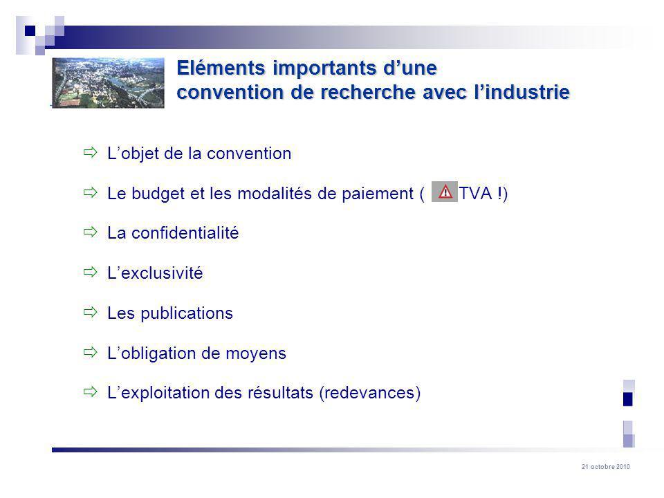 21 octobre 2010 Lobjet de la convention Le budget et les modalités de paiement ( TVA !) La confidentialité Lexclusivité Les publications Lobligation d