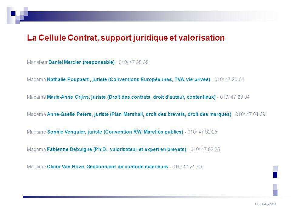 21 octobre 2010 Monsieur Daniel Mercier (responsable) - 010/ 47 38 38 Madame Nathalie Poupaert, juriste (Conventions Européennes, TVA, vie privée) - 0