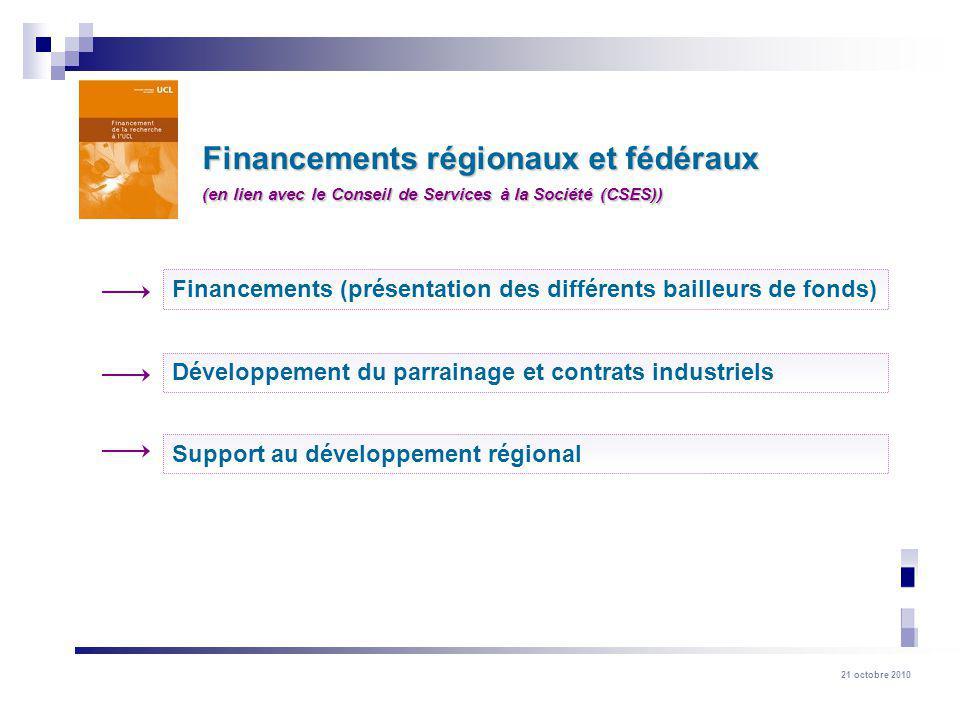 21 octobre 2010 Financements régionaux et fédéraux Financements (présentation des différents bailleurs de fonds) Support au développement régional Développement du parrainage et contrats industriels (en lien avec le Conseil de Services à la Société (CSES))