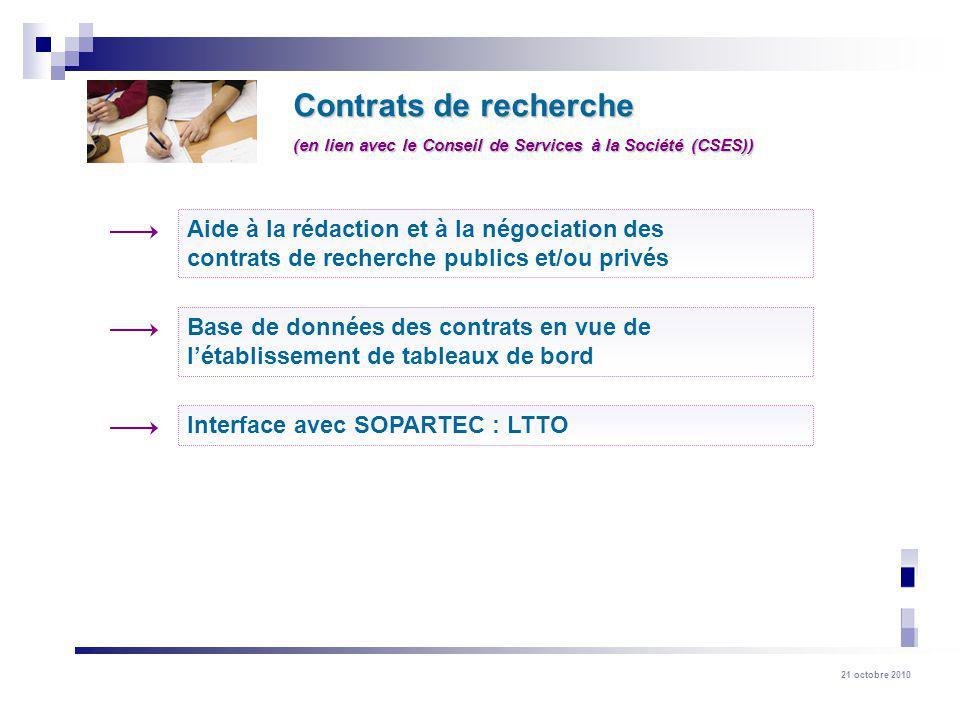 21 octobre 2010 Contrats de recherche Base de données des contrats en vue de létablissement de tableaux de bord Aide à la rédaction et à la négociatio