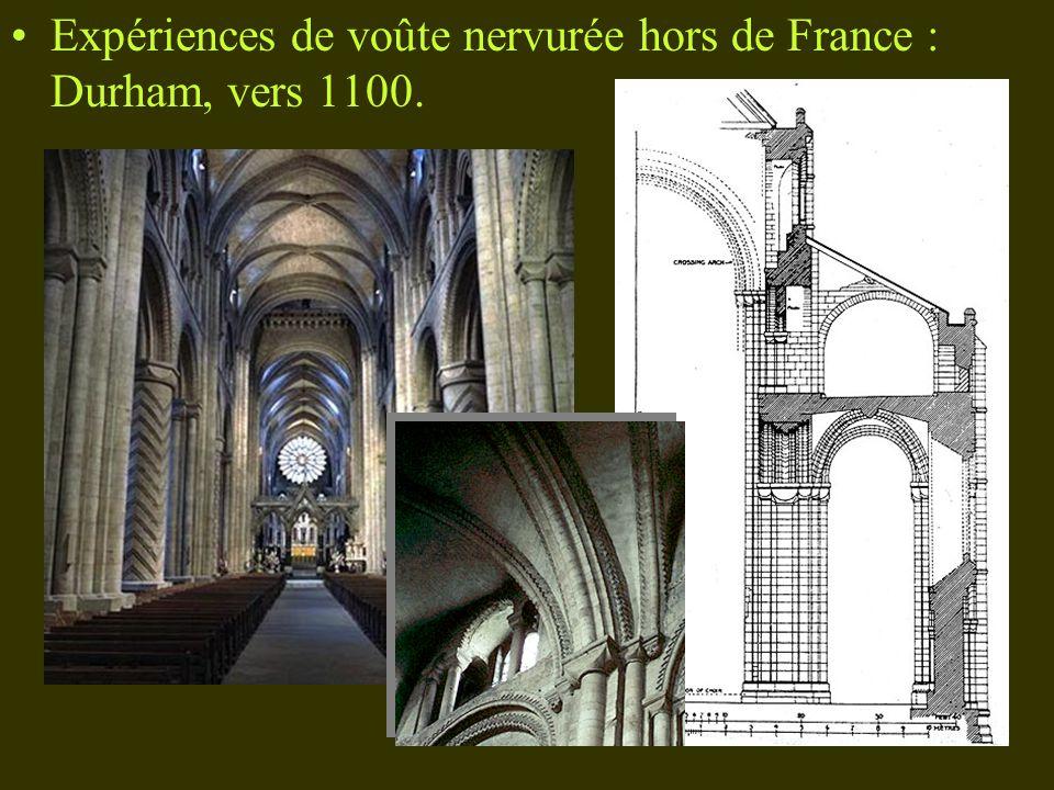 Expériences de voûte nervurée hors de France : Durham, vers 1100.