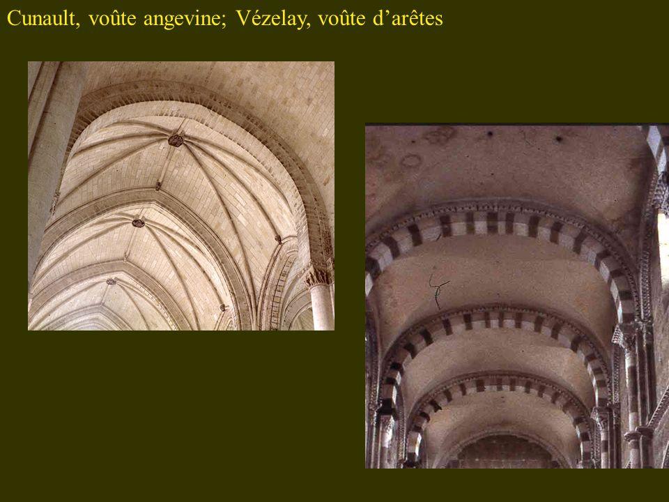 Cunault, voûte angevine; Vézelay, voûte darêtes