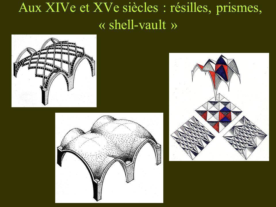 Aux XIVe et XVe siècles : résilles, prismes, « shell-vault »